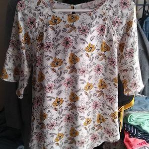 Loft mixed media flutter sleeve blouse